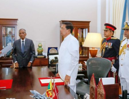 Hon. Thilak Marapana Sworn In As Minister of Foreign Affairs