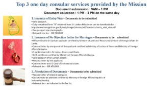 TOP 3 ONE DAY CONSULAR SERVICES PROVIDED BY  EMBASSY OF SRI LANKA, JAKARTA