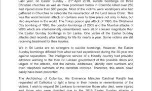 REMEMBERING THE EASTER SUNDAY ATTACKS – HON. MAHINDA RAJAPAKSA, PRIME MINISTER OF SRI LANKA