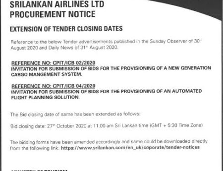 PROCUREMENT NOTICE OF SRILANKAN AIRLINES  REFERENCE NO.: CPIT/ICB 02/2020 & CPIT/ICB 04/2020