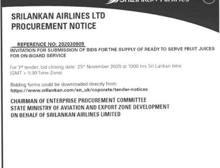 INVITATION FOR SUBMISSION OF BIDS FOR THE SUPPLY OF READY TO SERVE FRUIT JUICES FOR ON-BOARD SERVICES – SRILANKAN AIRLINES REFERENCE NO: 202030909