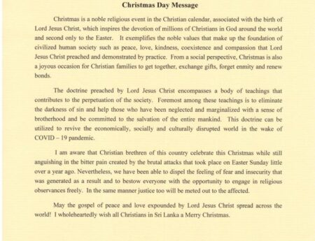 President's Christmas Day Message