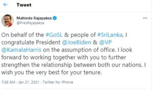 Prime Minister of Sri Lanka extends his warm wishes to the US President