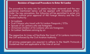 Entry Requirement for Sri Lankans Lifted